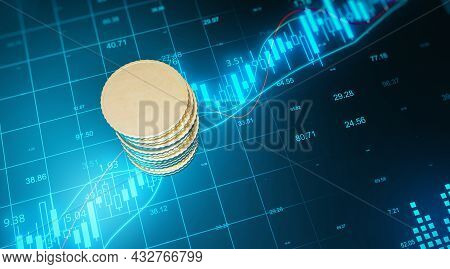 Top View Of Blank Golden Coins Stack On Blue Grid Background With Forex Chart. Finance And Trade Con