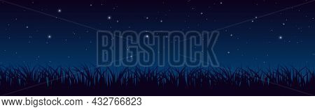 Blue Dark Night Sky With Lot Of Shiny Stars And Grass Ground Silhoutte Background