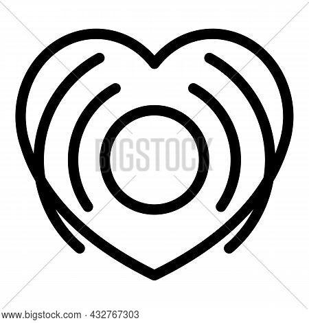 Sonor Heart Beat Icon Outline Vector. Cardiogram Palpitation. Health Pulse