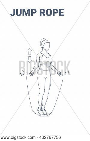 Woman Doing Jump Rope Exercise Fitness Home Workout Guidance Illustration. Girl Skipping Rope.