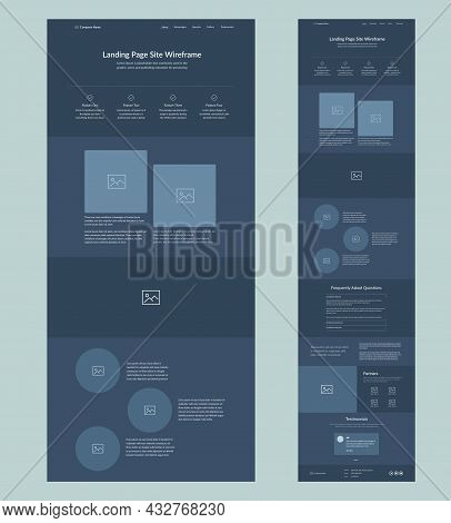 Website Template Design. Dark Landing Page Site Wireframe. One Page Site Layout Interface For Your C
