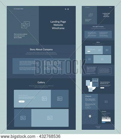Website Template Landing Page. Dark Website Wireframe Layout Interface Design.