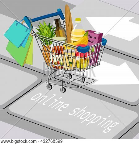 Vector Illustration Of Purchases Of Goods Via The Internet.shopping Cart With Products On A Computer