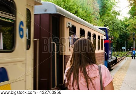 Kyiv, Ukraine-august 22,2021:lady Missed Her Train. Young Girl With A Ticket In Her Hand Trying To C