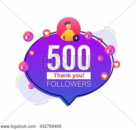 Thank You 500000 Followers Numbers. Flat Style Banner. Congratulating Multicolored Thanks Image For