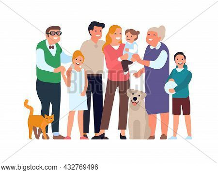 Big Happy Family. Relatives Group Portrait In Full Growth, Parents, Grandparents, Children And A Pet