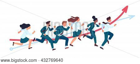 Business People Run. Teamwork Running Competitions, Office Persons In Race For Success, Professional