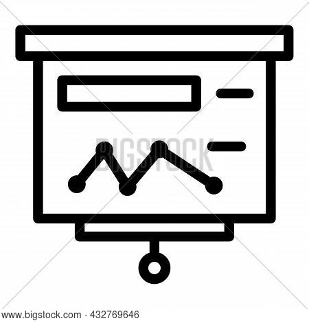 Wall Graph Banner Icon Outline Vector. Office Interior. Hang Projector