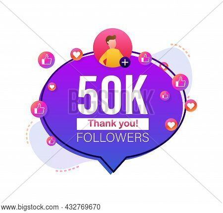 Thank You 50000 Followers Numbers. Flat Style Banner. Congratulating Multicolored Thanks Image For N