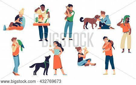 People With Pets. Animals And Happy Loving Owners, Men And Women Characters Hugging And Playing With