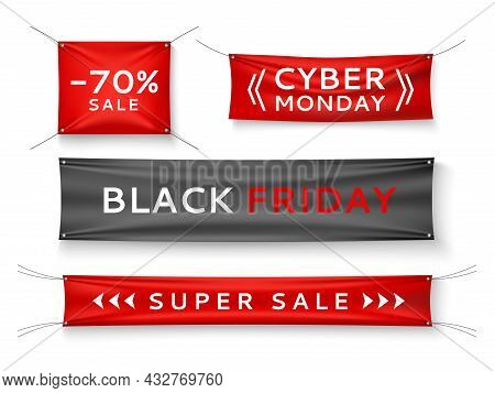 Fabric Stretching Banners. Realistic Fabric Signage With Special Offers Text, Sales And Prices Info
