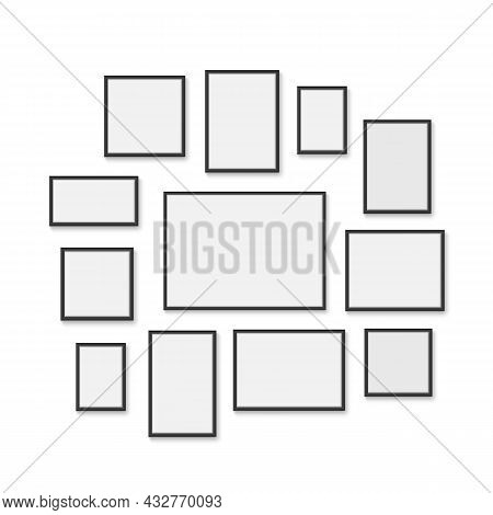 Photo Frames Mock Up. Realistic Interior Wall Empty Frames Different Format, Vertical, Horizontal 3d