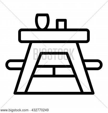 Outdoor Table Icon Outline Vector. Wooden Picnic. Garden Table