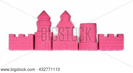 Castle Made Of Kinetic Sand On White Background, Top View