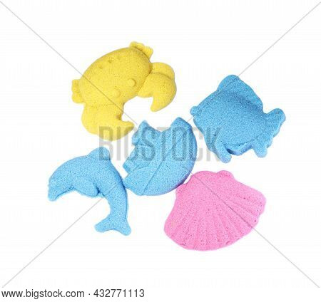 Marine Inhabitants And Ship Made Of Kinetic Sand On White Background, Top View