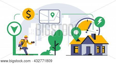 Online Food Delivery Service To Your Home. A Running Courier Delivering An Order To Your Home. Time,