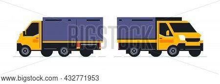 Trucks For The Online Parcel Delivery Service. Transport For Delivery Of Orders. Truck Front And Bac
