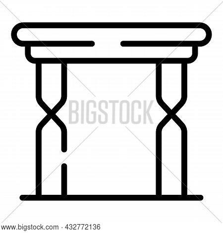 High Picnic Table Icon Outline Vector. Folding Chair. Compact Garden