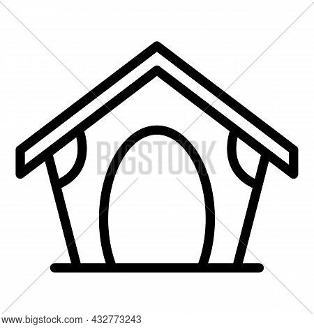 Canine Kennel Icon Outline Vector. Dog Puppy House. Pet Doghouse