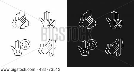 Infection Prevention Linear Icons Set For Dark And Light Mode. Wiping Off Dirt, Germs. Dry Hands Wit