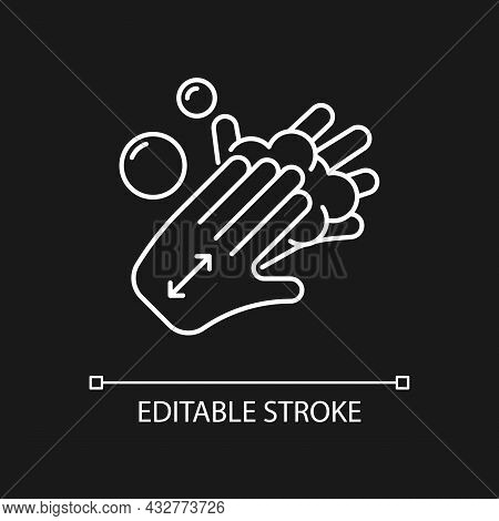 Lathering Back Of Hands White Linear Icon For Dark Theme. Rubbing Hands Together With Soap. Thin Lin