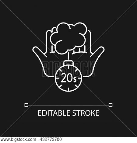Scrub Hands For Twenty Seconds White Linear Icon For Dark Theme. Soap Molecules Destroying Viruses.