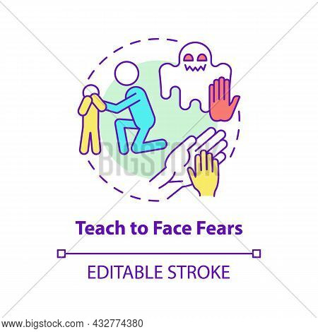 Teach To Face Fears Concept Icon. Support Kid Abstract Idea Thin Line Illustration. Help Child To Ov