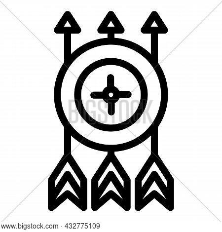 Aim Arrow Icon Outline Vector. Target Dart. Hit Goal