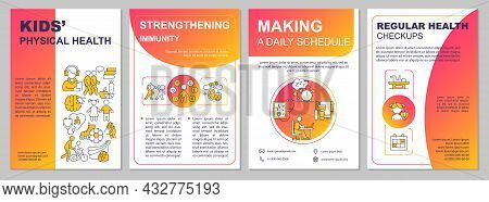 Kids Physical Health Red Gradient Brochure Template. Flyer, Booklet, Leaflet Print, Cover Design Wit