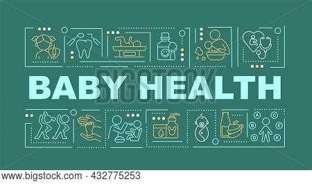 Child Health Word Concepts Banner. Mental And Physical Health. Infographics With Linear Icons On Gre