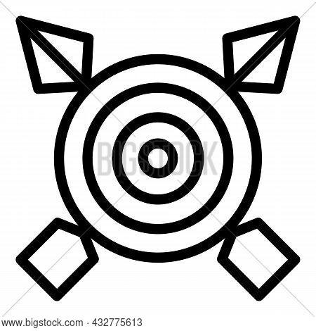Dart Board Icon Outline Vector. Target Arrow. Bullseye Arrow