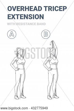 Woman Doing Overhead Tricep Extension Home Workout Exercise With Resistance Band Outline Guidance.