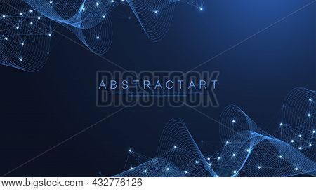 Technology Abstract Lines And Dots Connection Background. Connection Digital Data And Big Data Conce