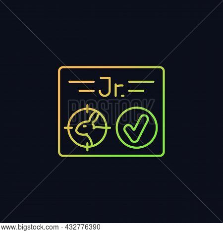 Junior Hunting License Gradient Vector Icon For Dark Theme. Hunter Confirmation For Children Under S