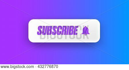 White Paper Subscribes Button With Ring Bell Isolated On Stylish Purple Background. Subscribe Banner