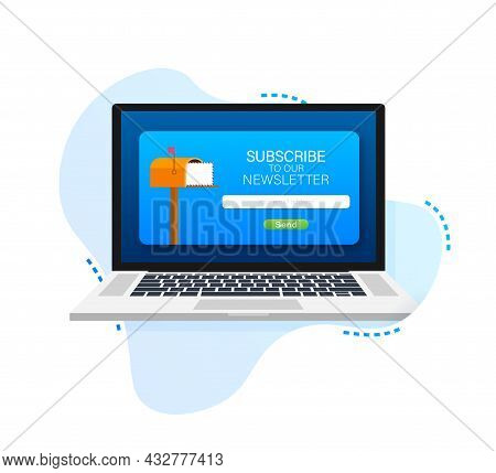 Email Subscribe On Laptop Screen, Online Newsletter Vector Template With Mailbox And Submit Button.