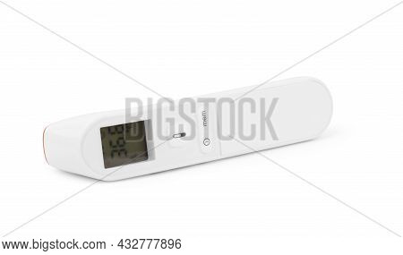 Digital Electronic Thermometer Isolated On White Fever, Flu, Diagnostic, On, Termometer, Celsius,