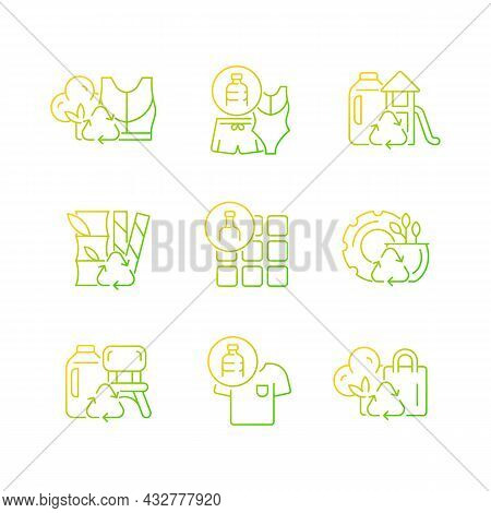 Natural Resources Conservation Gradient Linear Vector Icons Set. Reuse Plastic Products. Eco-friendl