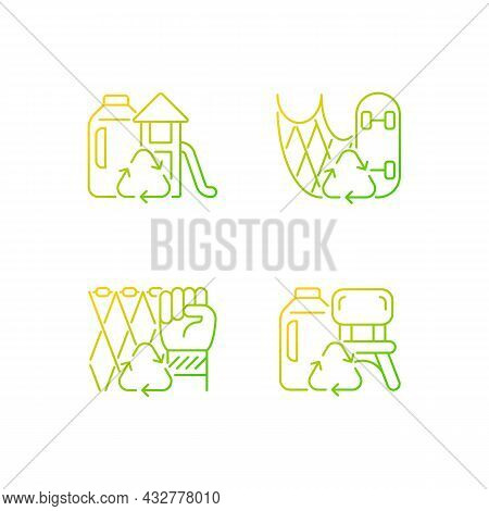 Recycling For Sustainability Gradient Linear Vector Icons Set. Fishing Gear Reuse. Eco Friendly Play