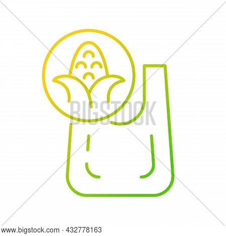 Compostable Bag Made From Corn Gradient Linear Vector Icon. Biodegradable Shopping Bag. Eco Friendly