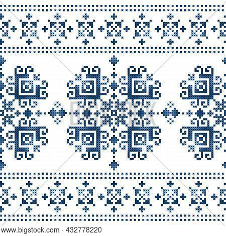Zmijanjski Vez Cross Stitch Vector Folk Art Seamless Pattern - Textile Or Fabric Print Background In