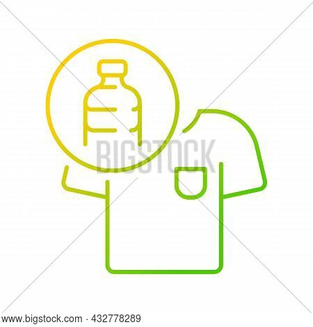 Clothes Made From Plastic Bottles Gradient Linear Vector Icon. Sustainable Clothing Item. Sustainabl