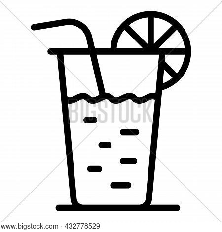 Summer Cocktail Icon Outline Vector. Party Drink. Beach Mojito