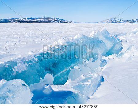Icy pressure ridge in Lake Laberge Yukon T Canada