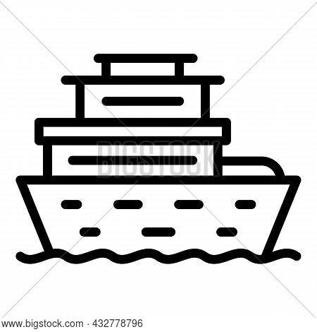 Cruise Ship Icon Outline Vector. Sea Boat. Marine Travel