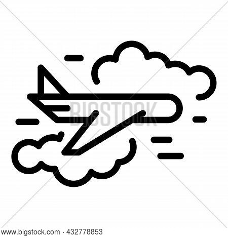 Flying Plane Icon Outline Vector. Sky Travel. Trip Airplane