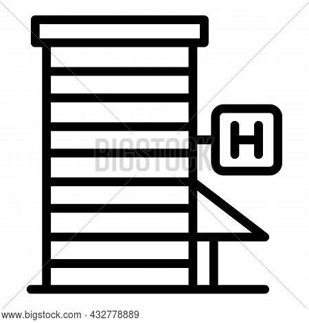 Hotel Building Icon Outline Vector. Residential Skyscraper. Urban Estate