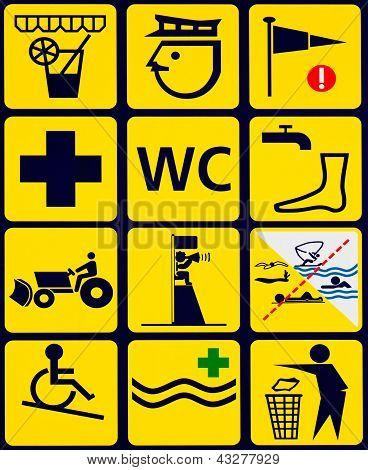 Sign with 12 instuctional icons for public beach