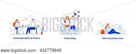 People Use Smartphones, Leisure Tourism, Flights, Social Networks Set Of Icons, Illustration. Smartp