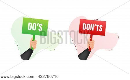 Hand Holding Placard Do S And Don Ts. Vector Stock Illustration.
